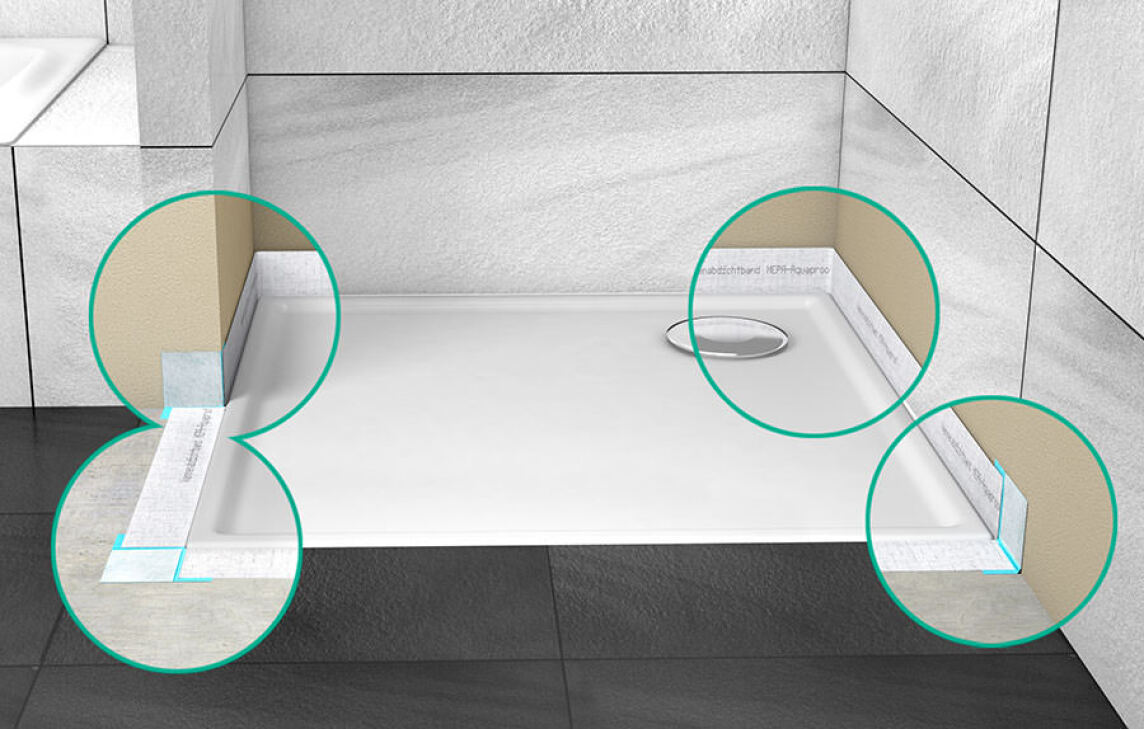 aquaproof 3d neues mepa wannenabdichtband zur rundum abdichtung. Black Bedroom Furniture Sets. Home Design Ideas