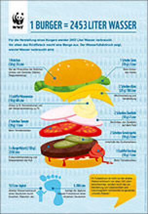 Infografik - Wasserfußabdruck eines Burgers