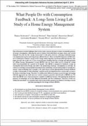 What People Do with Consumption Feedback: A Long-Term Living Lab Study of a Home Energy Management System
