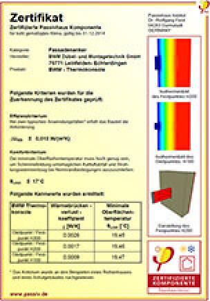 "Passivhauszertifikat für Fassadenanker ""BWM-Thermokonsole"""