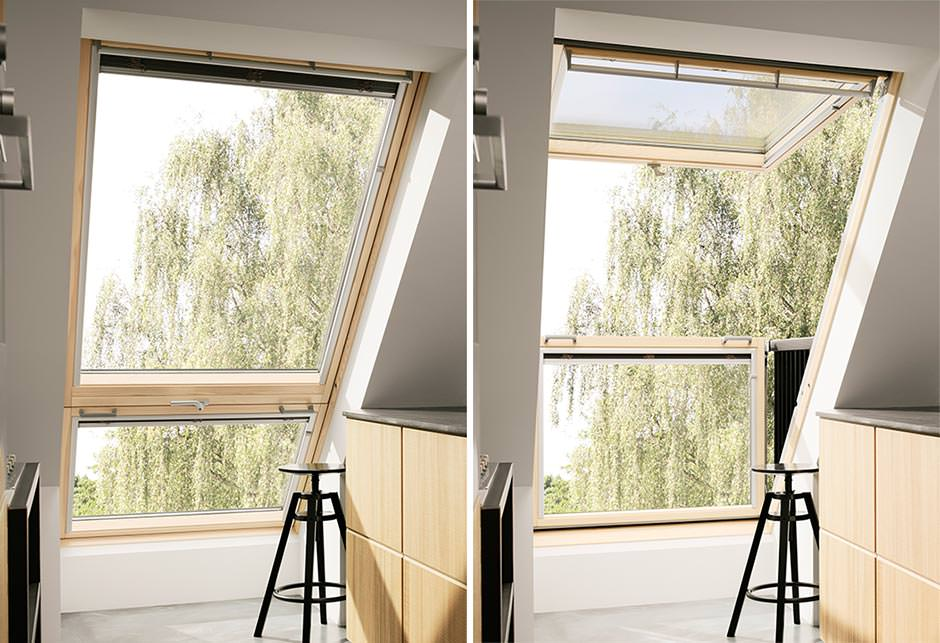 neues cabrio dachfenster von velux mehr licht mehr sicht mehr luft. Black Bedroom Furniture Sets. Home Design Ideas