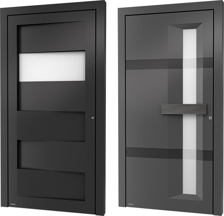 neue aluminium haust ren von weru mit markanter. Black Bedroom Furniture Sets. Home Design Ideas