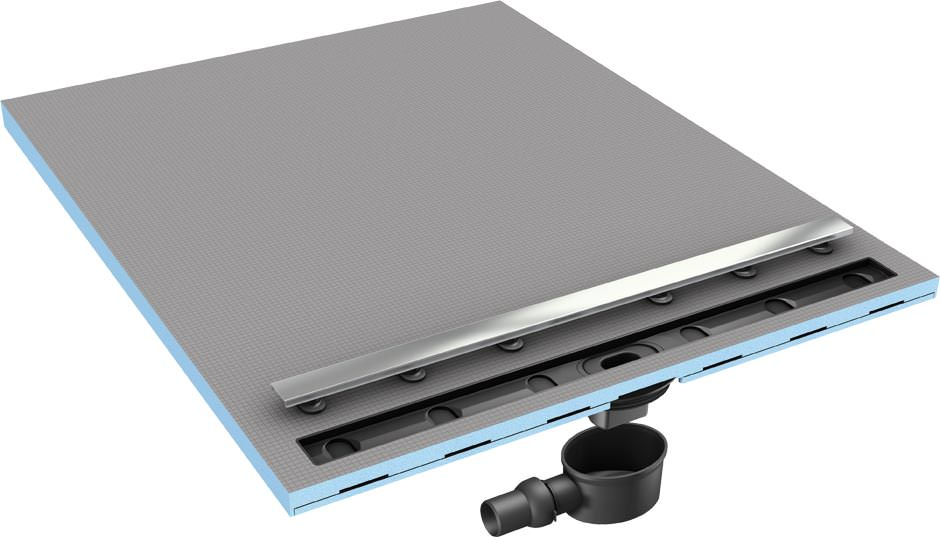 neues wedi duschboard mit einer ablaufrinne direkt an der wand. Black Bedroom Furniture Sets. Home Design Ideas