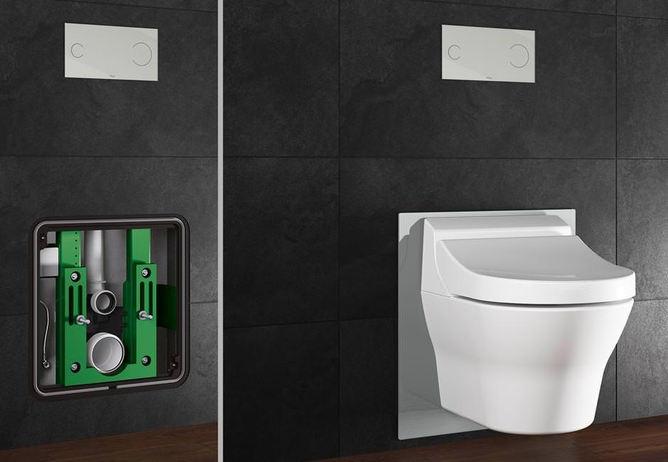 ein e vorwand f r dusch wcs viega eco plus dusch wc element. Black Bedroom Furniture Sets. Home Design Ideas