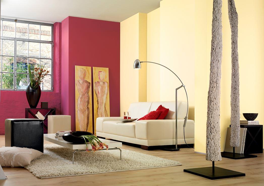 wohnzimmer gelb rot