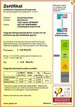 """""""Zertifizierte Passivhaus Komponente"""" in der Kategorie Fensteranschluss gemäß der Passivhaus Effizienzklasse phB"""