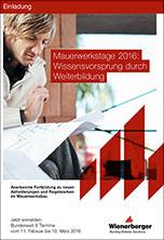 Wienerberger Mauerwerkstage 2016