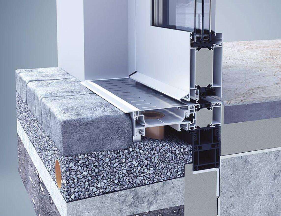 heroal integriert lineare fassadenentw sserung in t r und fensterprofilsysteme. Black Bedroom Furniture Sets. Home Design Ideas