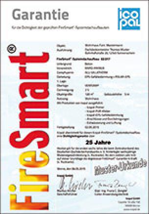 Garantie FireSmart-Systemdachaufbauten
