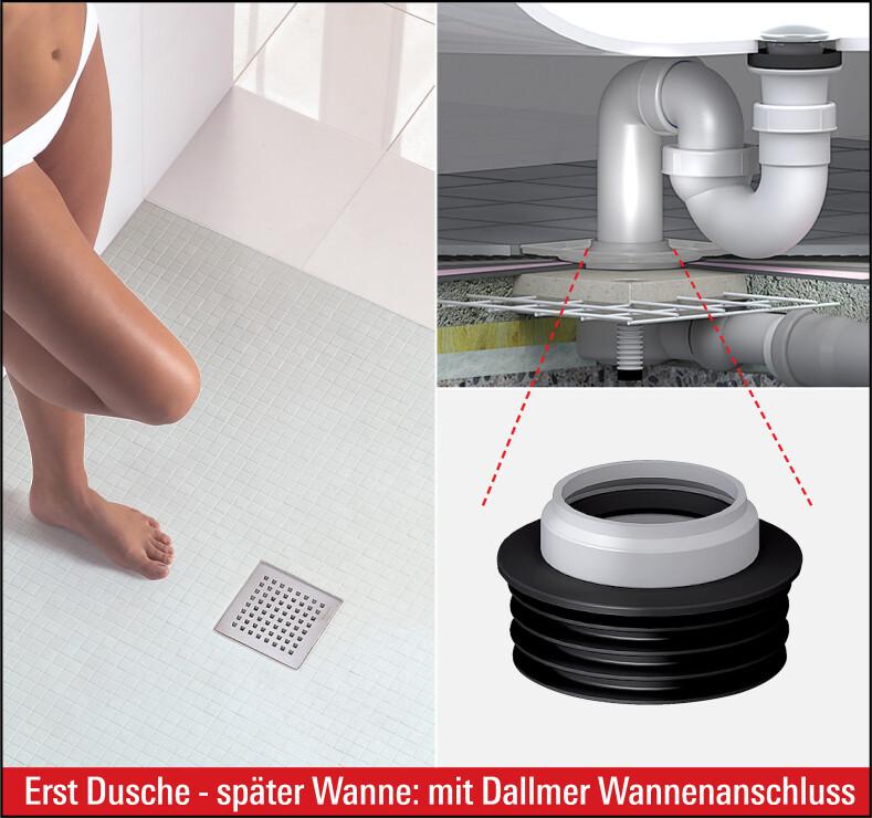 Was Kostet Der Umbau Von Badewanne Zur Dusche : bodengleicher Dusche zur Badewanne per Abfluss-Adapter von Dallmer