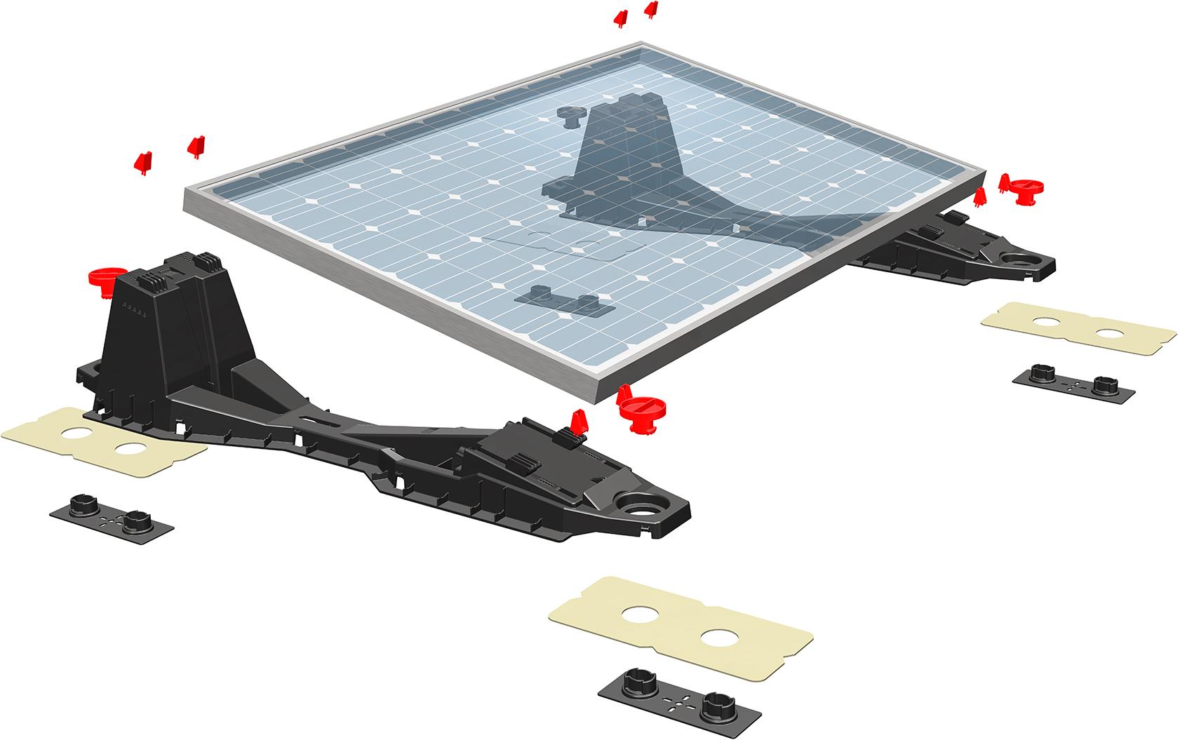 modulunabh ngige unterkonstruktionen f r pv anlagen auf flachd chern. Black Bedroom Furniture Sets. Home Design Ideas