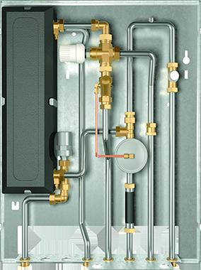 Durch die breite Grundplatte kann der AEG Wohnungsstation WSP eine Vielzahl von Einbauoptionen zugefügt werden, beispiels-weise eine Zirkulationspumpe und ein zusätzlicher gemischter Heizkreis für Flächenheizung.
