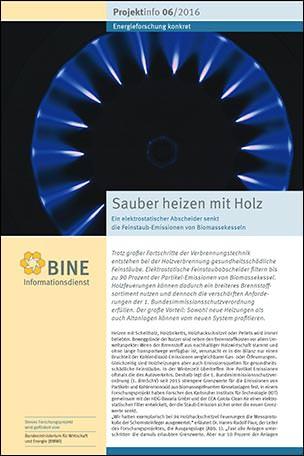 """BINE-Projektinfo """"Sauber heizen mit Holz"""" (06/2016)"""