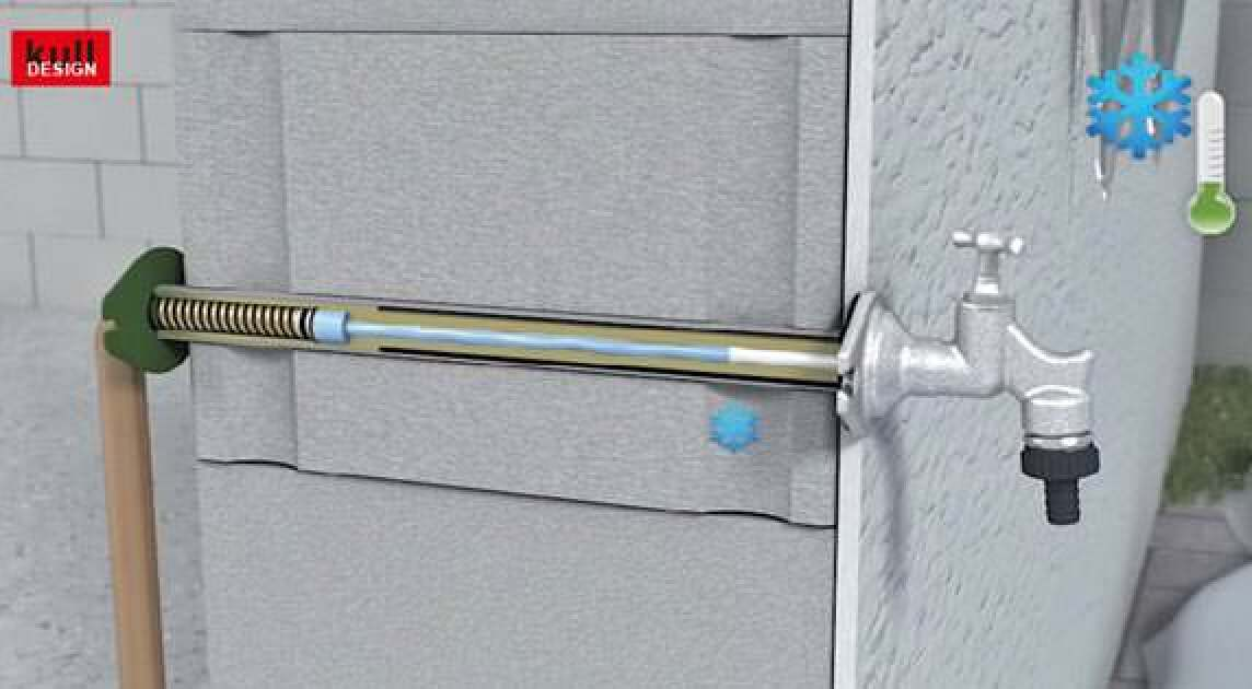 frostsicherer aussenwasserhahn mit volumenkompensator