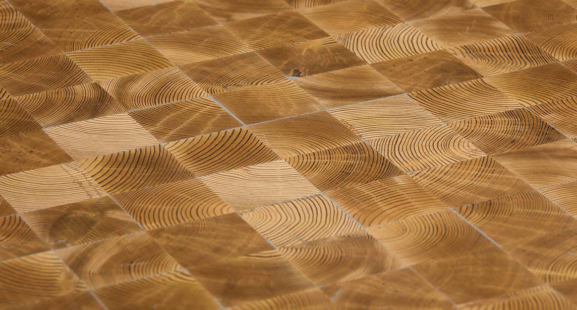 Werkstatt Holzboden holzboden im industrial style mit hirnholz auf parkettnetz