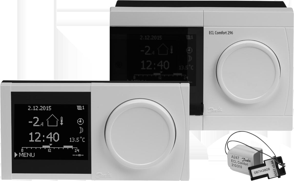 Regler ECL Comfort 296, Fernbedienungseinheit ECA 30/31 und ein Applikationsschlüssel