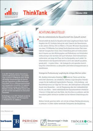 """Thinktank-Themendossier """"Achtung Baustelle! - Wie die mittelständische Bauwirtschaft ihre Zukunft sichert"""""""
