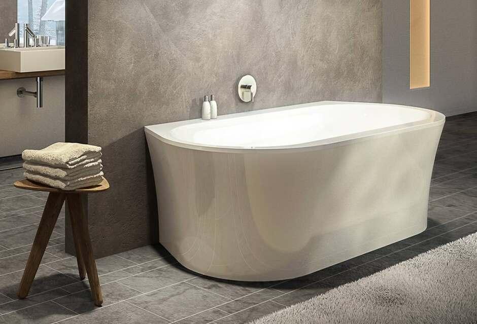 prime line wall oval badewanne mit wandanschluss la duscholux. Black Bedroom Furniture Sets. Home Design Ideas