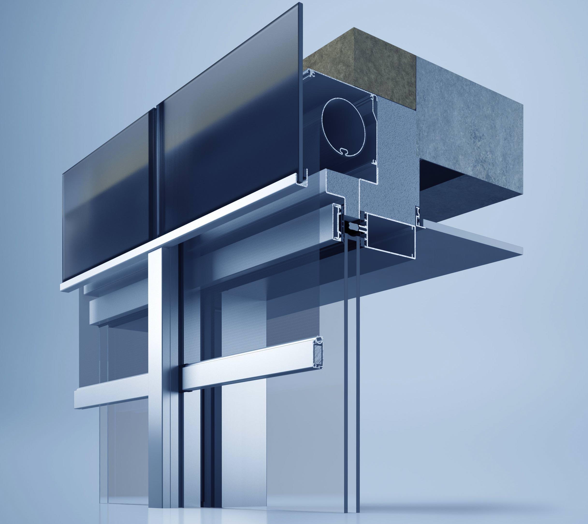 unsichtbare spannvorrichtung und schwimmende fenster f r heroals c 50 fassadesystem. Black Bedroom Furniture Sets. Home Design Ideas