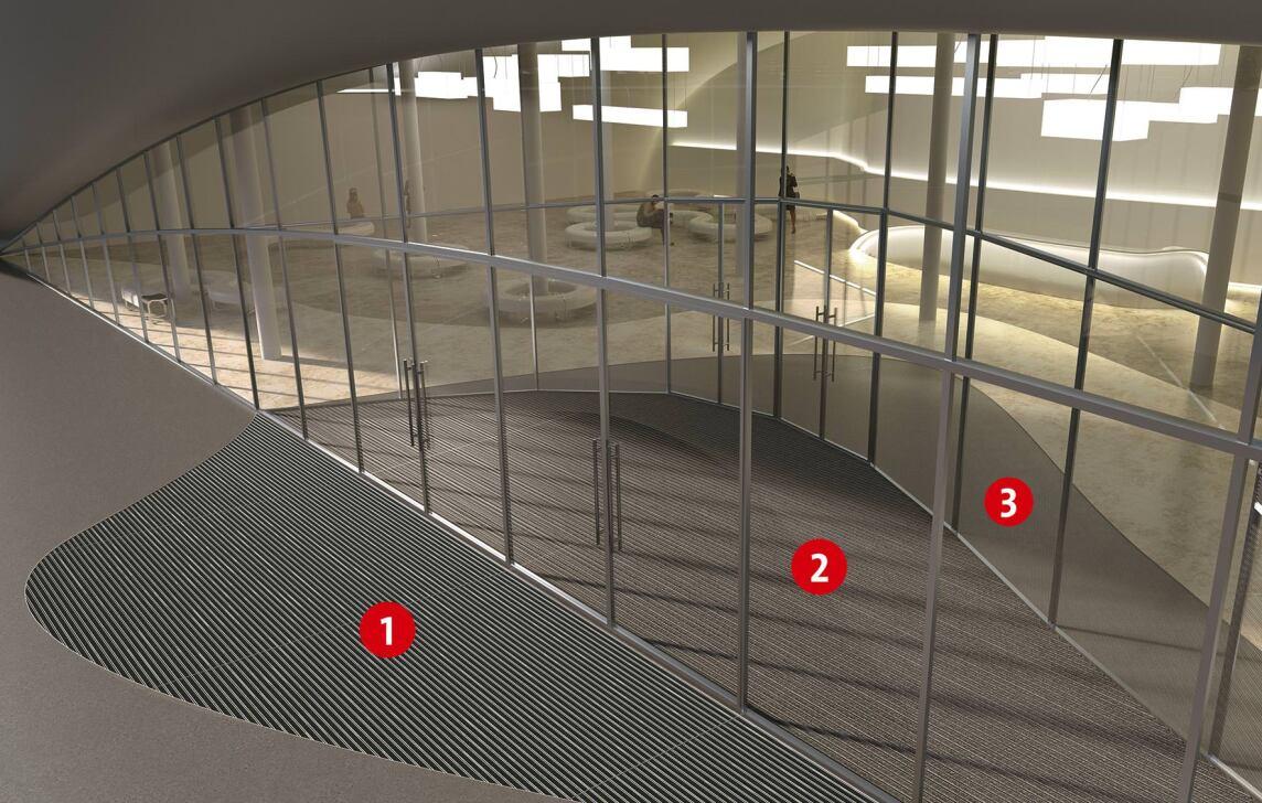 Sauberlaufzone mit 3-Zonen-Reinigung