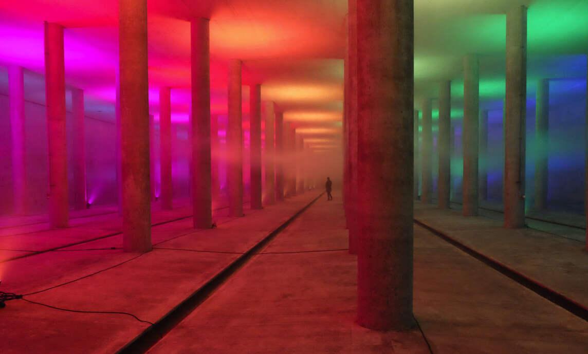 Lichttauchgang, 20 Jahre Regenrückhaltebecken Hirschgarten - mbeam | Atelier für Lichtkunst (© Manfred Beck)