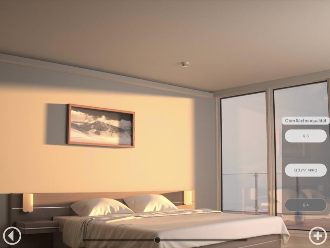 Achten Sie auch auf die Wand am Kopfende des Bettes, wie sich die Plattensöße NICHT abbilden!