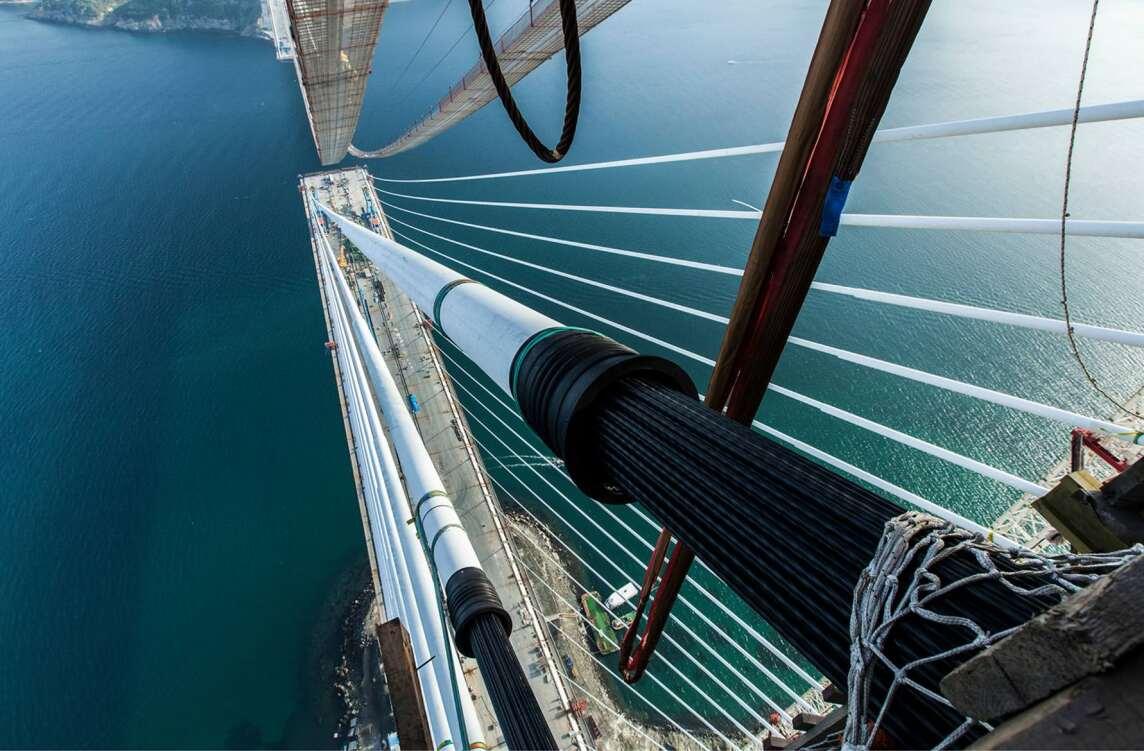Bau der Yavuz-Sultan-Selim-Brücke, Istanbul (TR) 2016, Michel Virlogeux, Jean-François Klein (Foto © ICA)