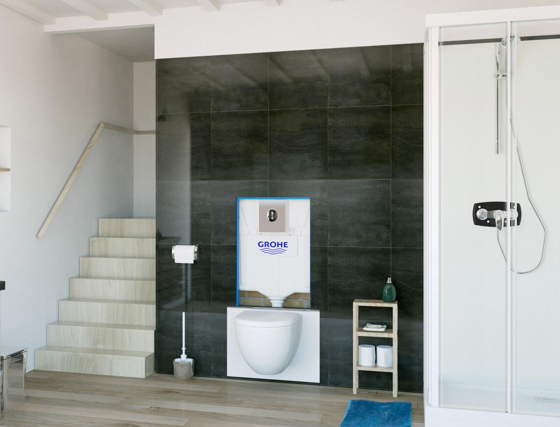 von sfa sanibroy und grohe vorwandelement saniwall pro up inklusive kleinhebeanlage. Black Bedroom Furniture Sets. Home Design Ideas