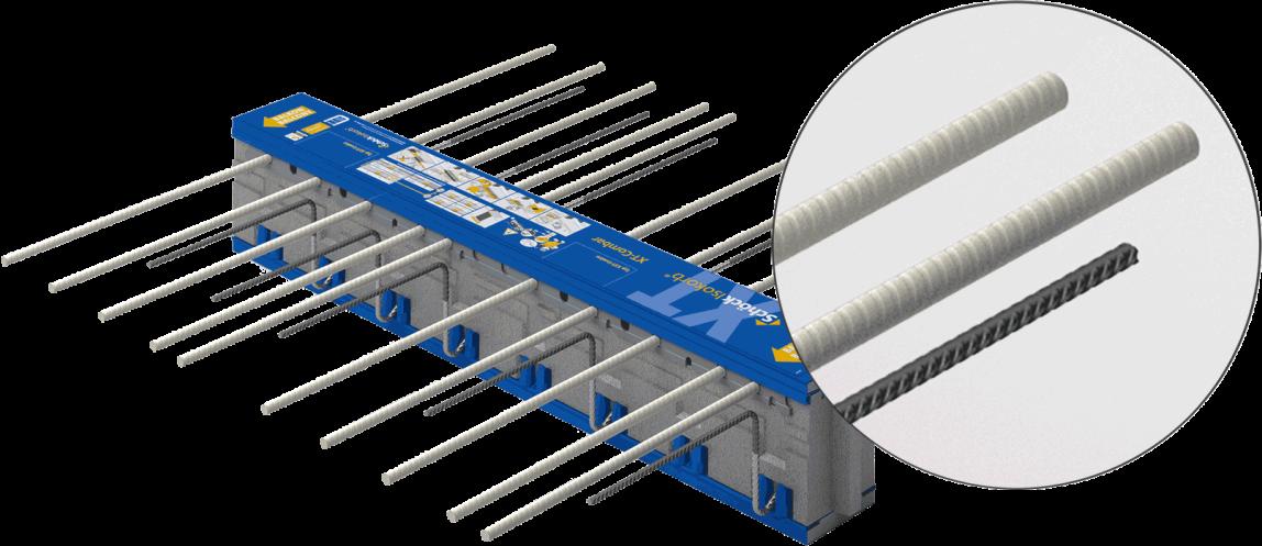 Isokorb XT-Combar mit Zugstäben aus dem Glasfaserverbundwerkstoff Combar