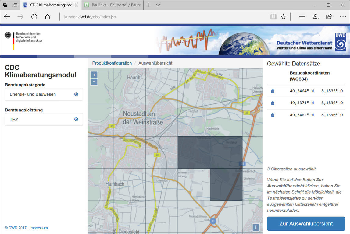 CDC-Portal / CDC-Klimaberatungsmodul für Testreferenzjahre (TRY)