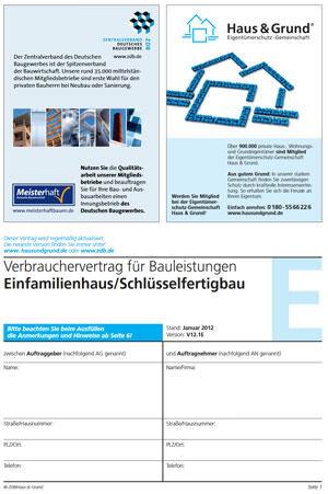 Kostenlose Bauvertragsmuster Von Zdb Und Haus Grund Wegen Vsbg