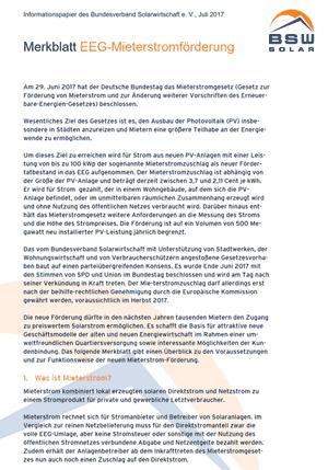 Merkblatt zur Mieterstrom-Förderung vom BSW-Solar