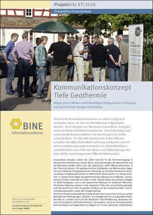 "BINE-Projektinfo ""Kommunikationskonzept Tiefe Geothermie"" (17/2016)"
