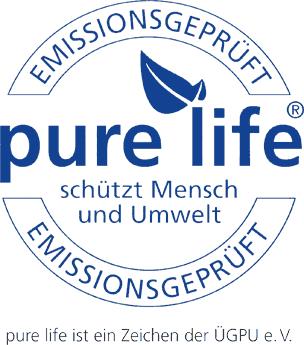 """Umwelt-Qualitätszeichen """"pure life"""""""