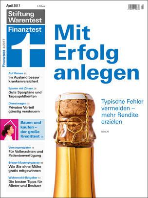 April-Ausgabe der Zeitschrift Finanztest
