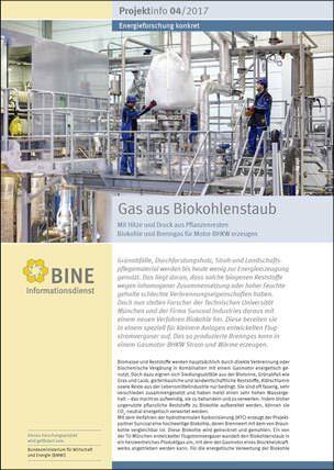 Gas aus Biokohlenstaub treibt Motor-BHKW an