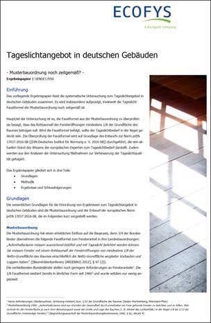 """Ecofys-Studie """"Tageslichtangebot in deutschen Gebäuden"""""""
