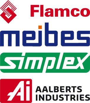 Logos von Flamco, Meibes und Simplex
