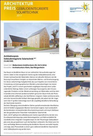 """Architekturpreis """"Gebäudeintegrierte Solartechnik 2017"""""""