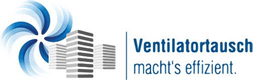 """Logo der Informationskampagne """"Ventilatortausch macht's effizient"""""""