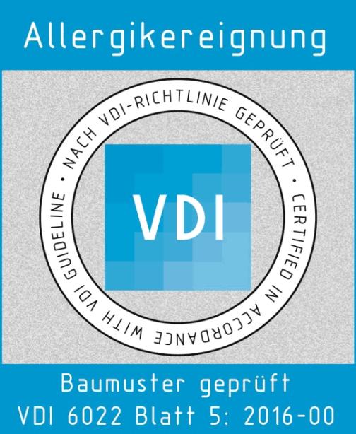 """Prüfzeichen """"Allergikereignung nach VDI-Richtlinie geprüft"""""""