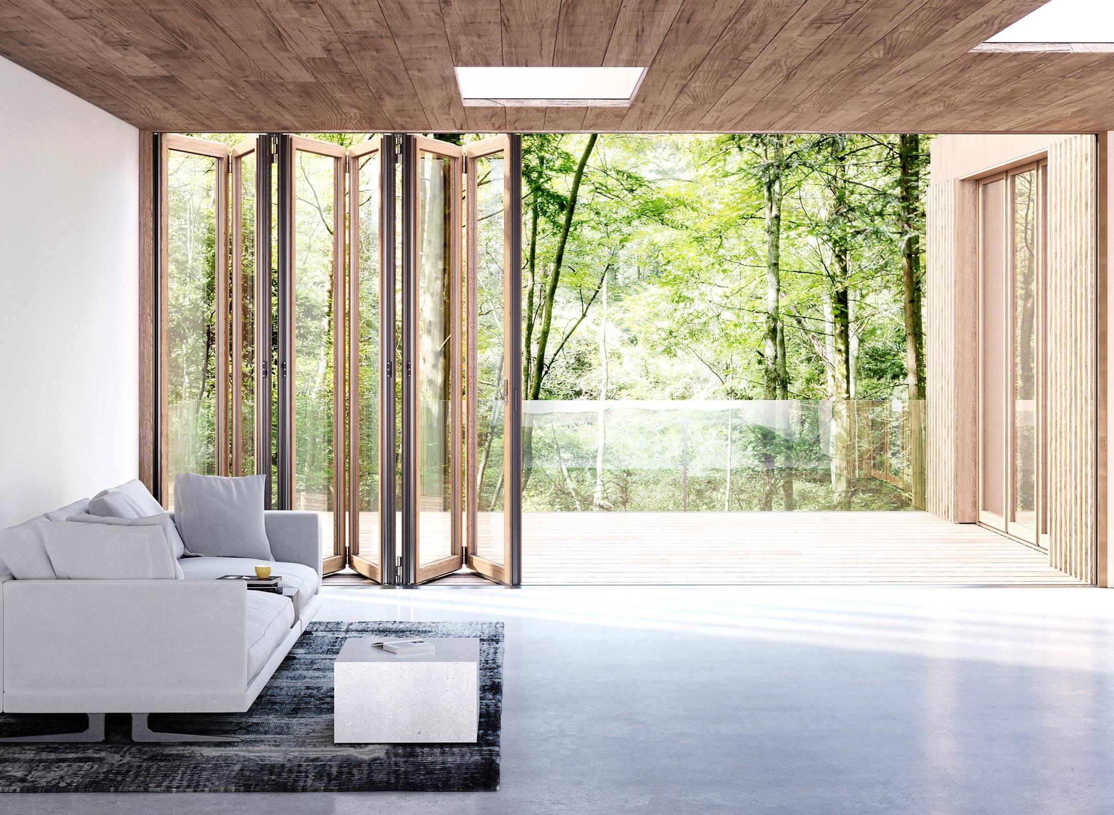 Neue Glas-Faltwände von Solarlux mit schlanken Holz- und Holz/Alu ...