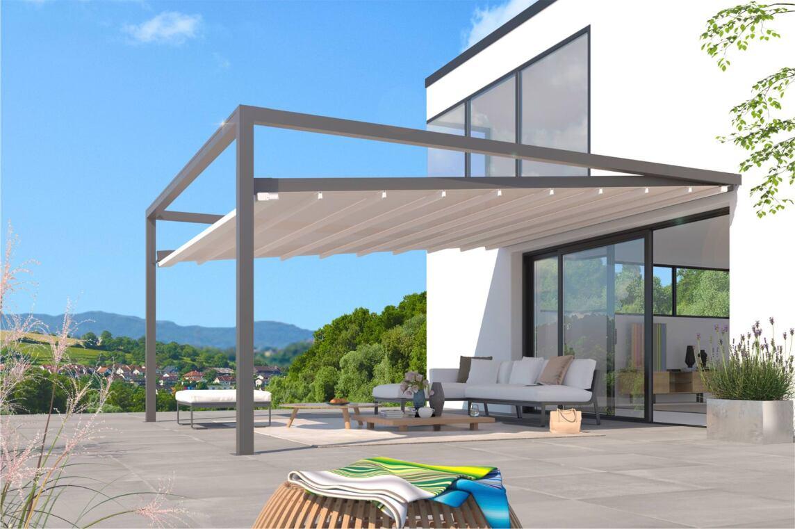 kubisches leiner terrassenfaltdach kann es mit sonne wind und regen aufnehmen. Black Bedroom Furniture Sets. Home Design Ideas
