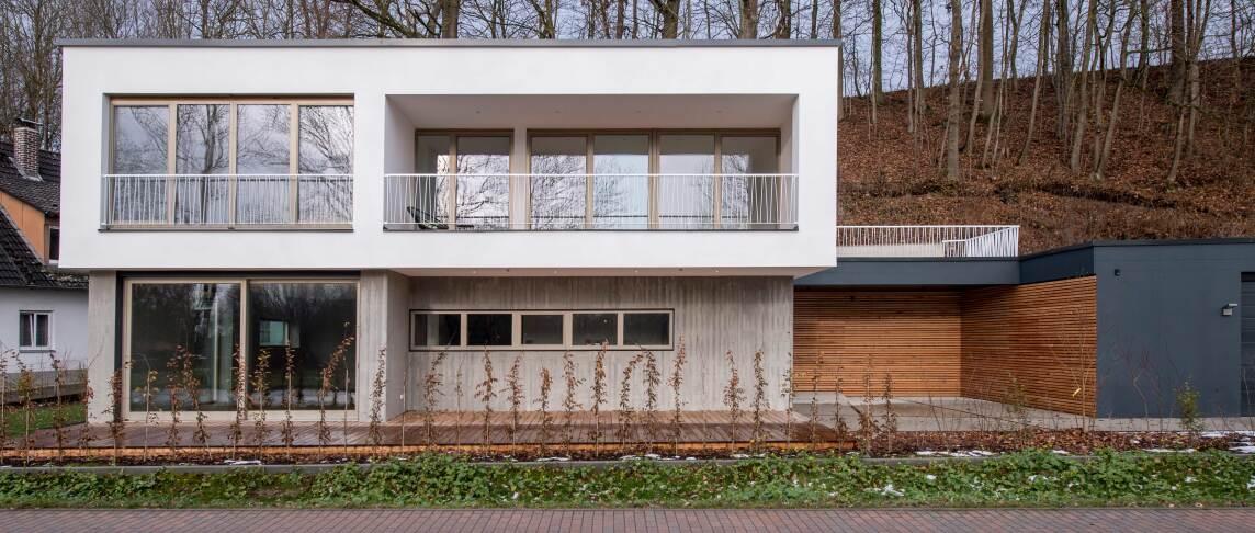 Wohnhaus aus Sichtbeton, Leichtbeton bzw. Dämmbeton