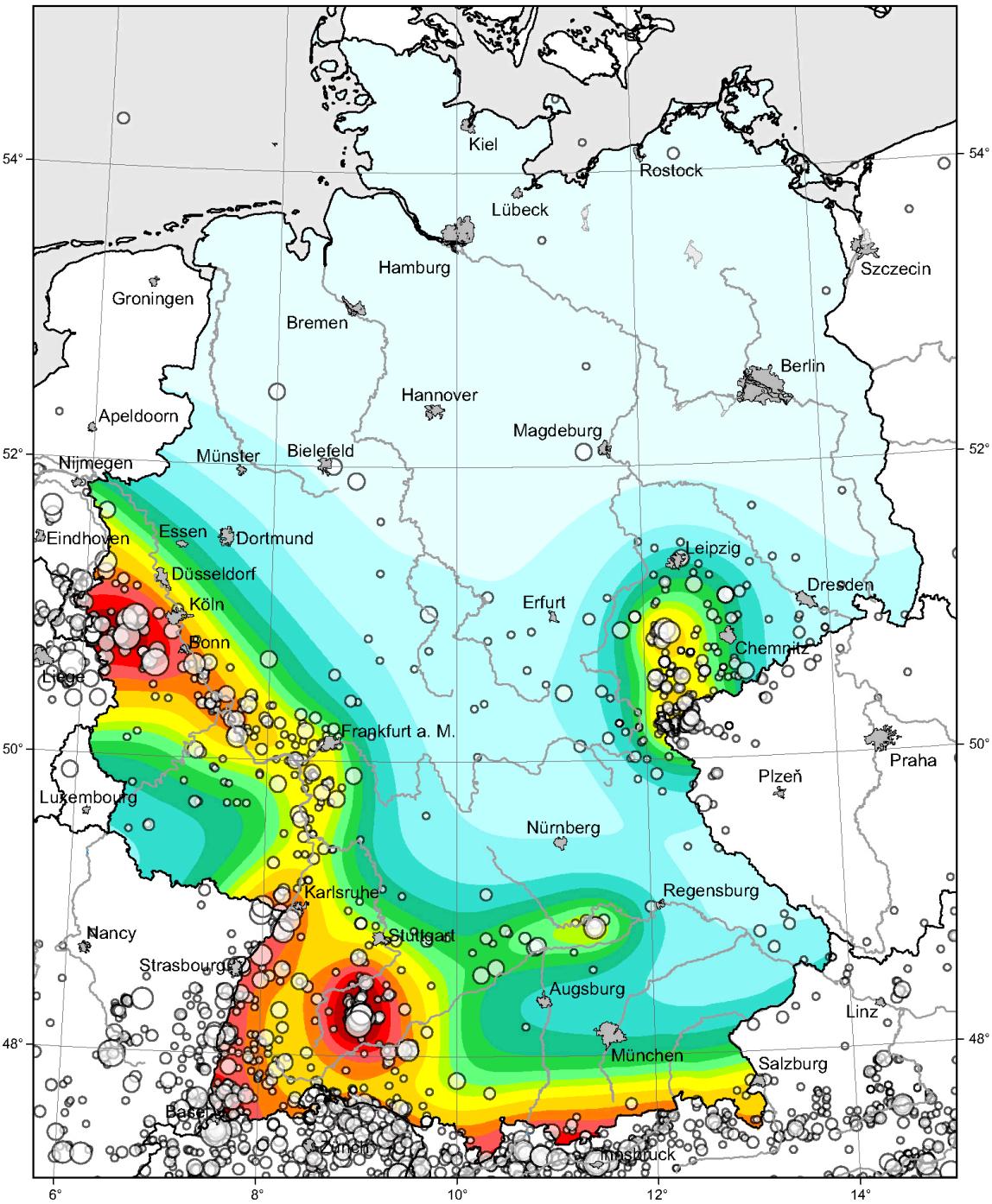 Erdbebenzonierung / Erdbebenzonen in Deutschland