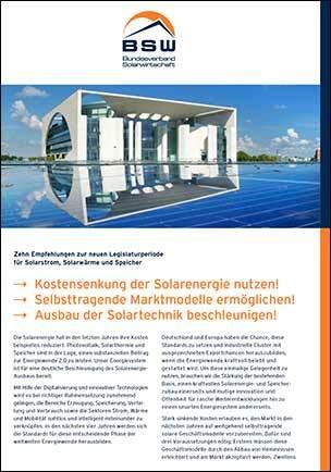 Zehn Empfehlungen zur neuen Legislaturperiode für Solarstrom, Solarwärme und Speicher