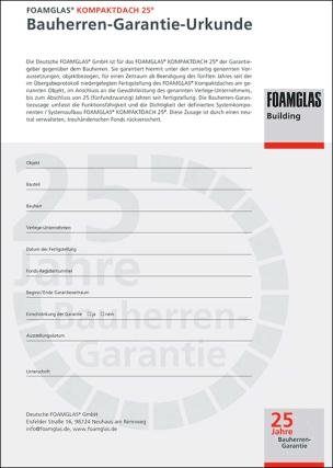 25 Jahre Garantie auf Foamglas-Kompaktdach
