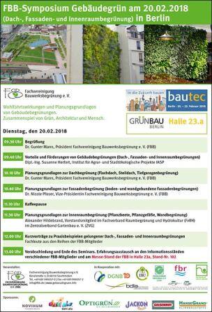 FBB-Symposium Gebäudegrün am 20.2.2018 im Rahmen der Grünbau/ bautec