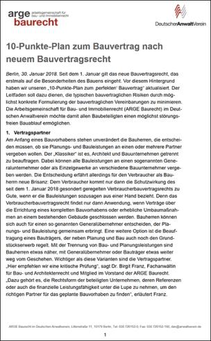 "10-Punkte-Plan zum ""perfekten"" Bauvertrag"