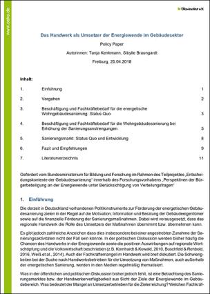 """Policy Paper """"Das Handwerk als Umsetzer der Energiewende im Gebäudesektor"""""""